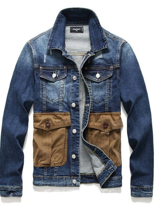 Ericdress Button Lapel Color Block Fall Mens Single-Breasted Jacket