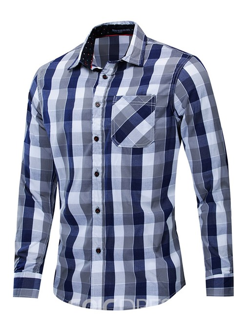 Ericdress Button Lapel Plaid Mens Single-Breasted Shirt