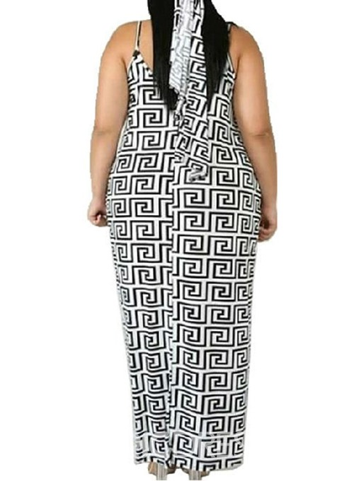 Ericdress Plus Size Sleeveless Print Ankle-Length A-Line Casual Dress
