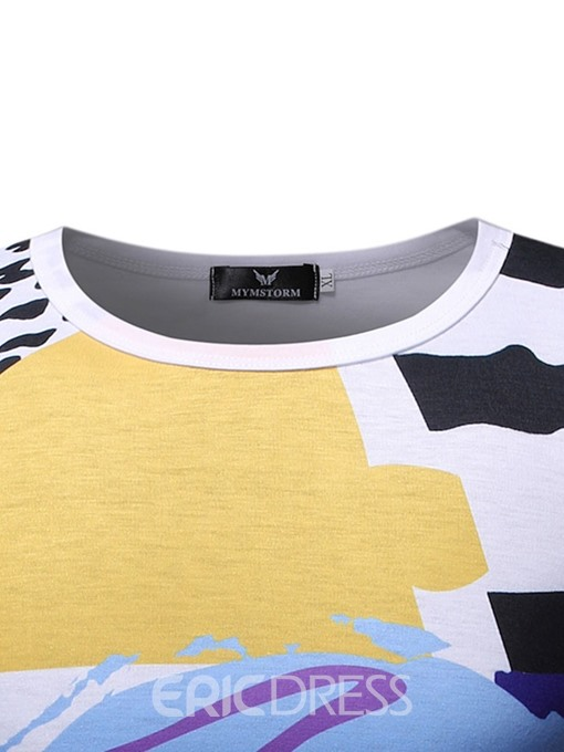 Ericdress Color Block Casual Round Neck Slim Mens Short Sleeve T-shirt