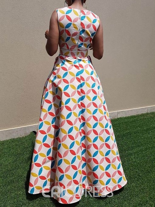 Ericdress Floor-Length Geometric Color Block African Style Dress