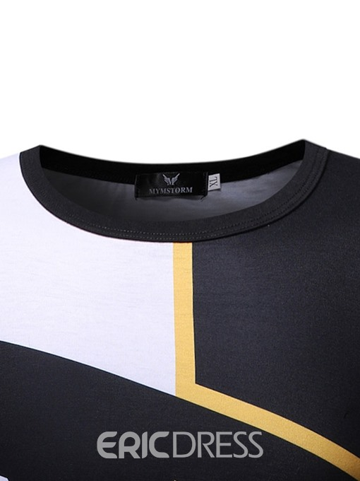 Ericdress Round Neck Casual Color Block Short Sleeve Mens Slim T-shirt