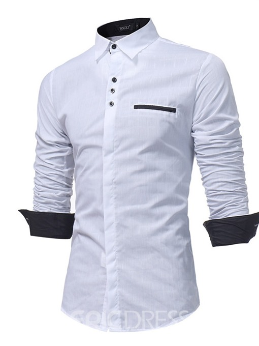 Ericdress Button Sports Lapel Slim Mens Shirt
