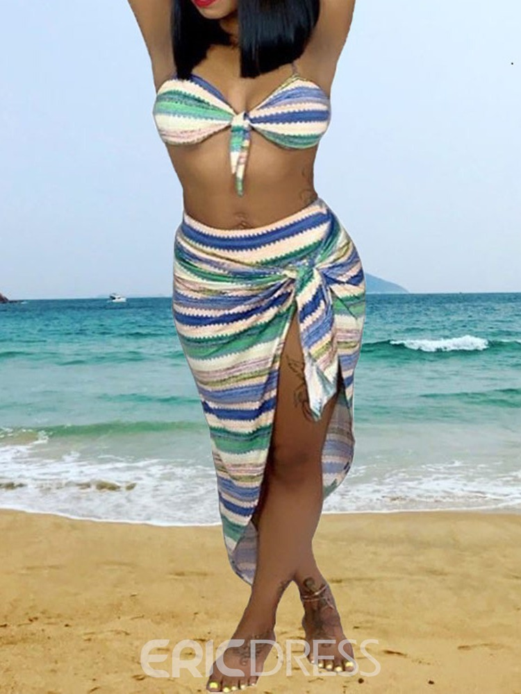 Ericdress Stripe Stretchy Print Swimsuit