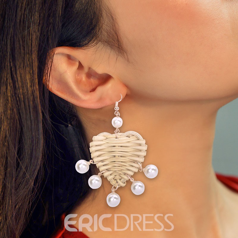 Ericdress Shell Heart Pearl Earrings