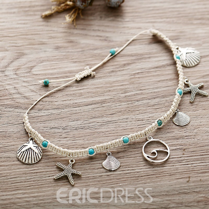 Ericdress Female Diamante Starfish Shell Anklets