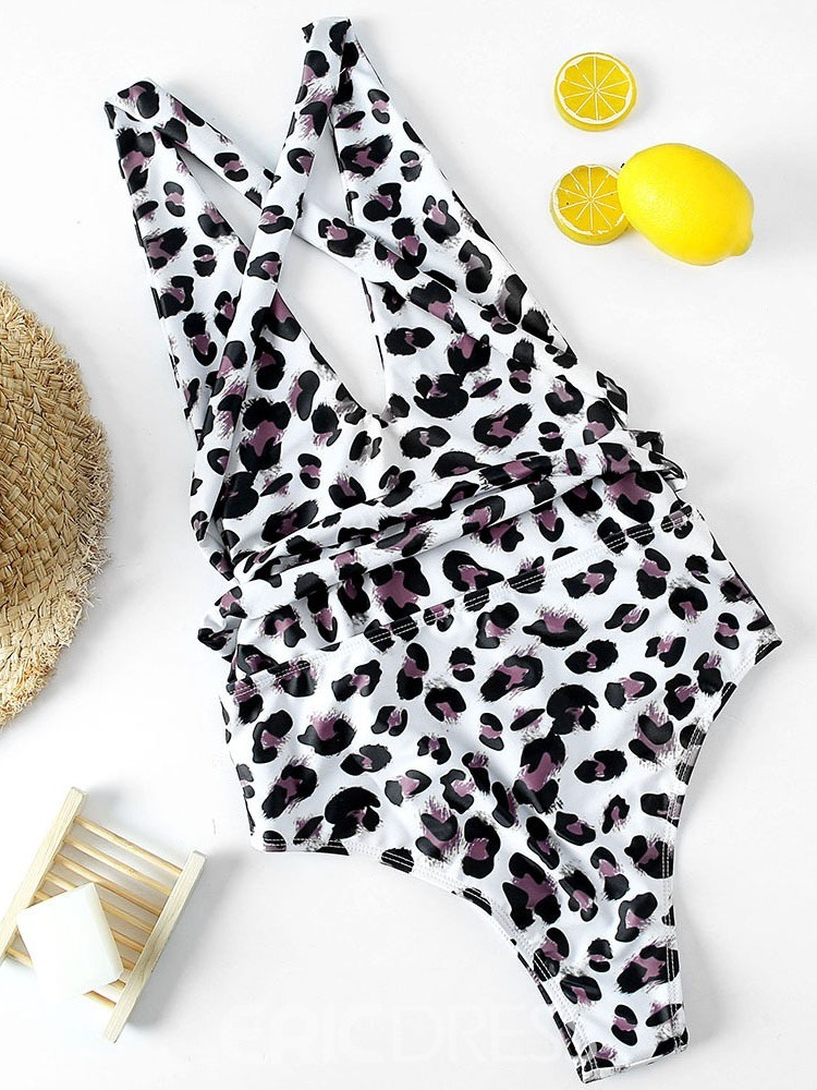Ericdress One Piece Print Lace-up Swimwear