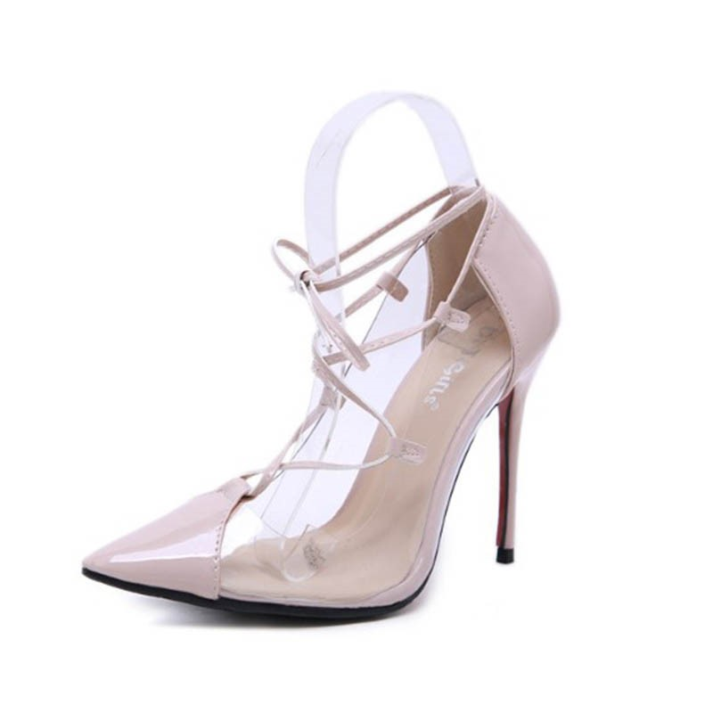 Ericdress Pointed Toe Stiletto Heel Lace-Up Color Block Women's Pumps