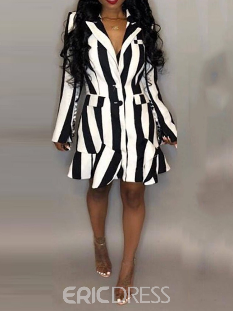 Ericdress Long Sleeve Notched Lapel Print Regular Stripe Dress