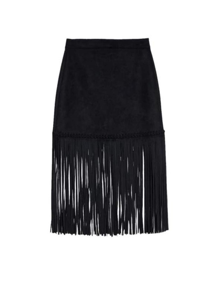 Ericdress Tassel Plain Office Lady Mid-Calf Skirt