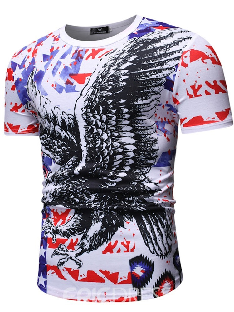 Ericdress Animal Round Neck Casual Slim Mens Short Sleeve T-shirt