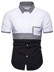 Купить со скидкой Ericdress Casual Color Block Lapel Single-Breasted Mens Summer Shirt