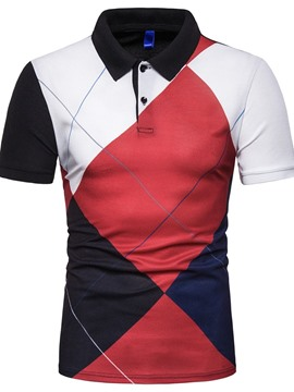 Ericdress Color Block Button Casual Mens Summer Polo Shirt