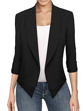 Ericdress Asymmetrical Lapel Long Sleeve Plain Office Lady Blazer