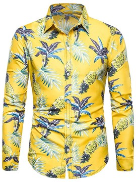 Ericdress Lapel Casual Floral Slim Mens Shirt