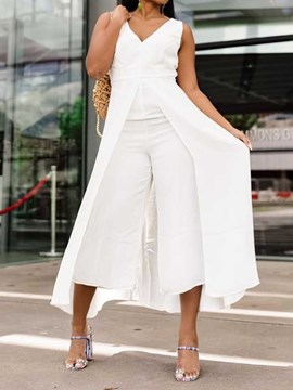 Ericdress Overlay Embellished Plain Asymmetric Slim Jumpsuit