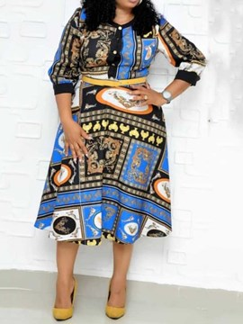 Ericdress African Fashion Print Three-Quarter Sleeve Geometric Regular Dress