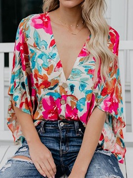 Ericdress Color Block V-Neck Print Casual Blouse