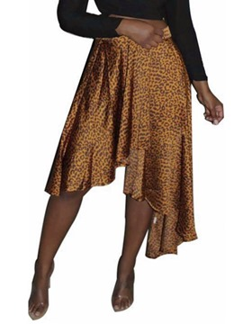 Ericdress Asymmetrical Leopard Print Mid-Calf Office Lady Skirt