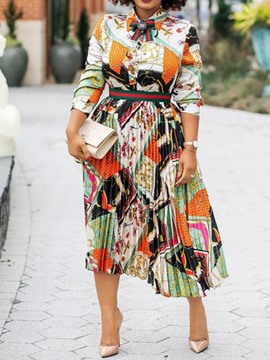 Ericdress Print Mid-Calf Long Sleeve Color Block Pleated Dress