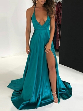 Ericdress Split-Front Halter A-Line Backless Evening Dress 2019