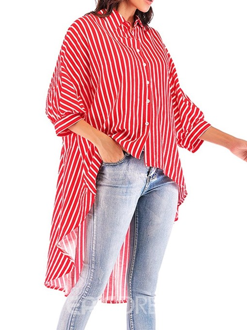 Ericdress Asymmetric Stripe Batwing Sleeve Long Blouse