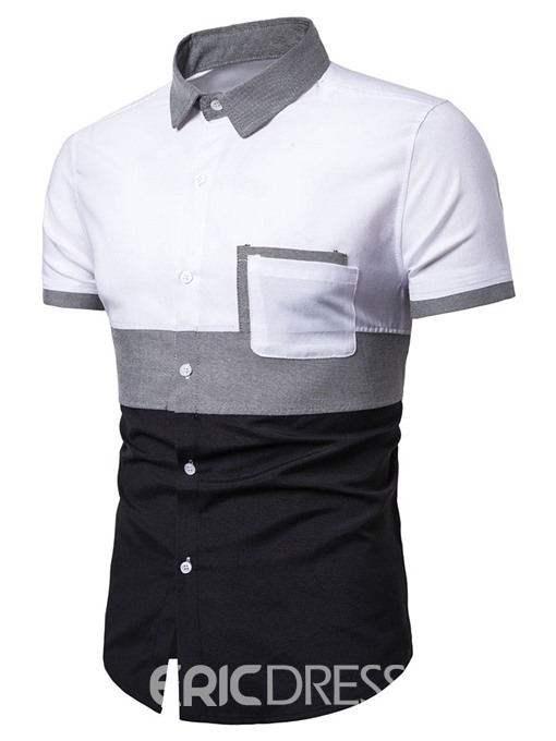 Ericdress Casual Color Block Lapel Single-Breasted Mens Summer Shirt