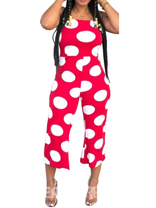 Ericdress Polka Dots Strap Office Lady Ankle Length Slim Jumpsuit