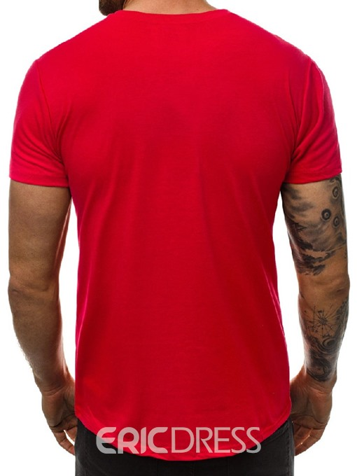 Ericdress Round Neck Plain Casual Slim Mens Short Sleeve T-shirt