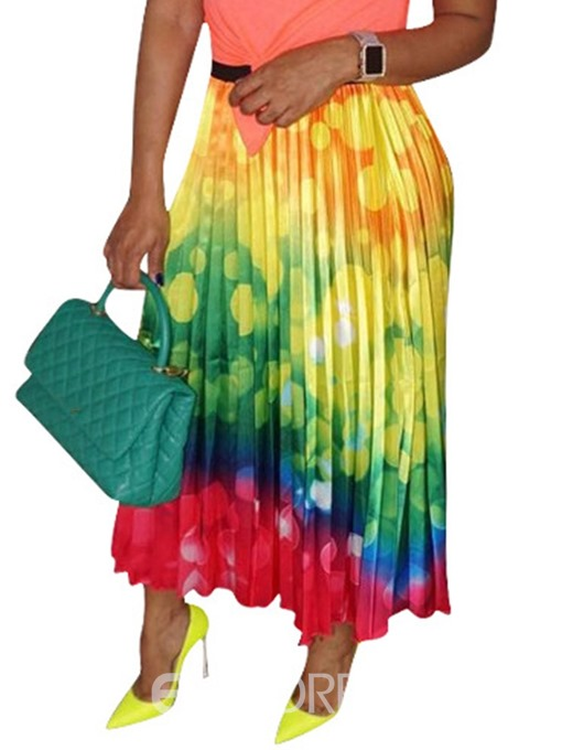 Ericdress Color Block Pleated Ankle-Length Maxi Skirt