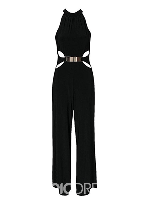 Ericdress Plain Slim Wide Legs Office Lady Jumpsuit