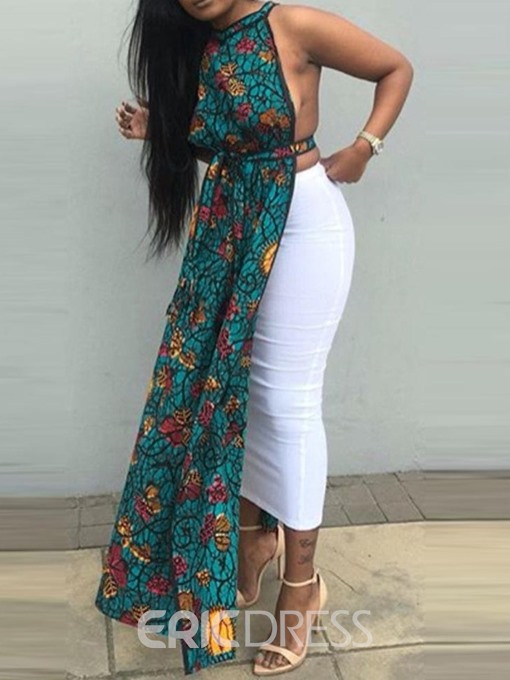 Ericdress African Fashion Print Lace-Up Long Tank Top