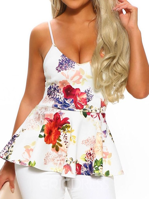 Ericdress African Fashion Floral Color Block Tank Top