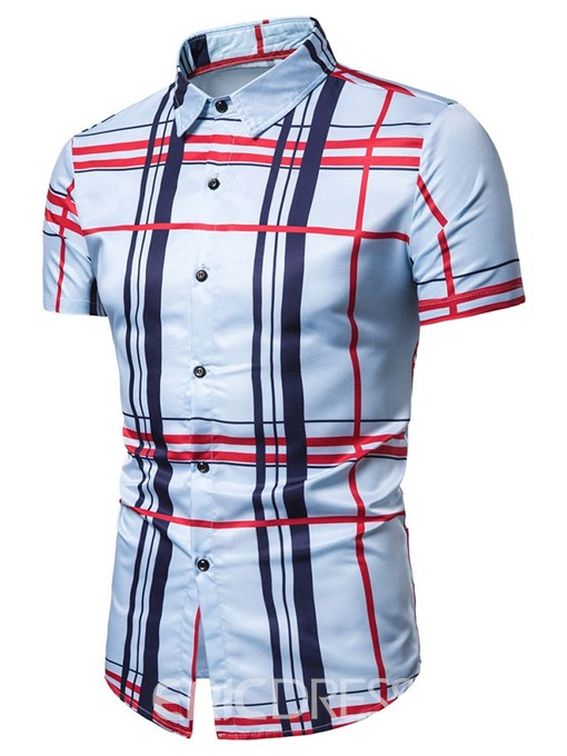 Ericdress Casual Lapel Button Slim Mens Single-Breasted Shirt