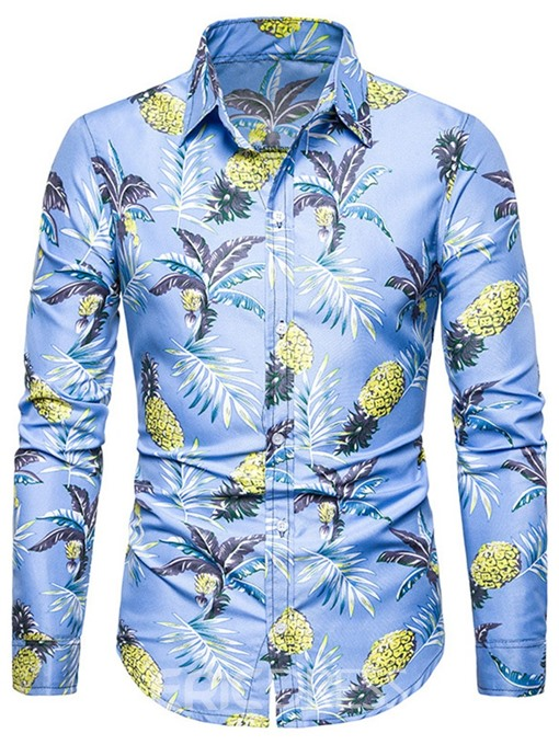 Ericdress Print Color Block Casual Summer Mens Single-Breasted Shirt