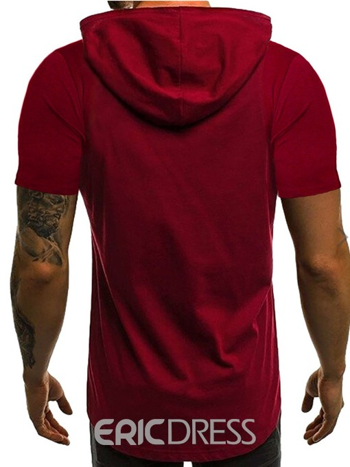 Ericdress Print Hooded Casual Loose Mens Short Sleeve T-shirt