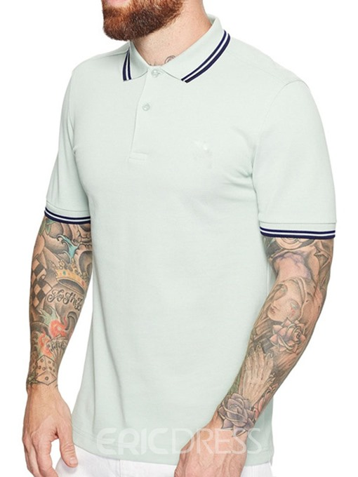 Ericdress Casual Color Block Mens Polo Shirt