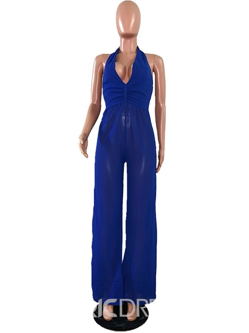 Ericdress Plain Backless Office Lady Sexy Loose Jumpsuit