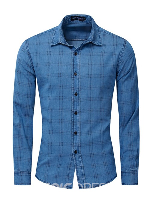 Ericdress Plaid Lapel Single-Breasted Mens Spring Shirt