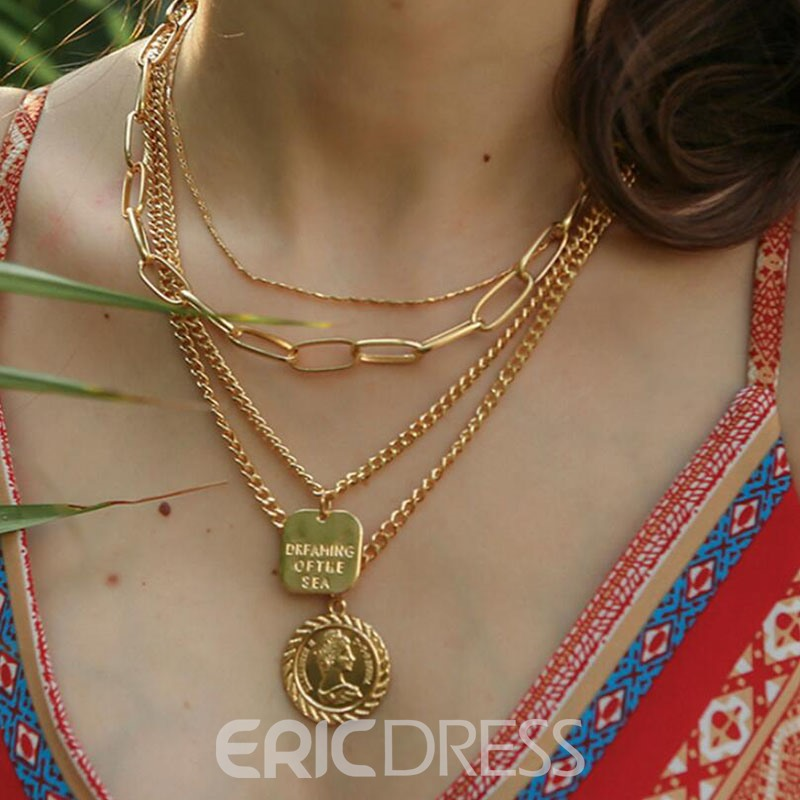 Ericdress Golden Round Pendant Necklace