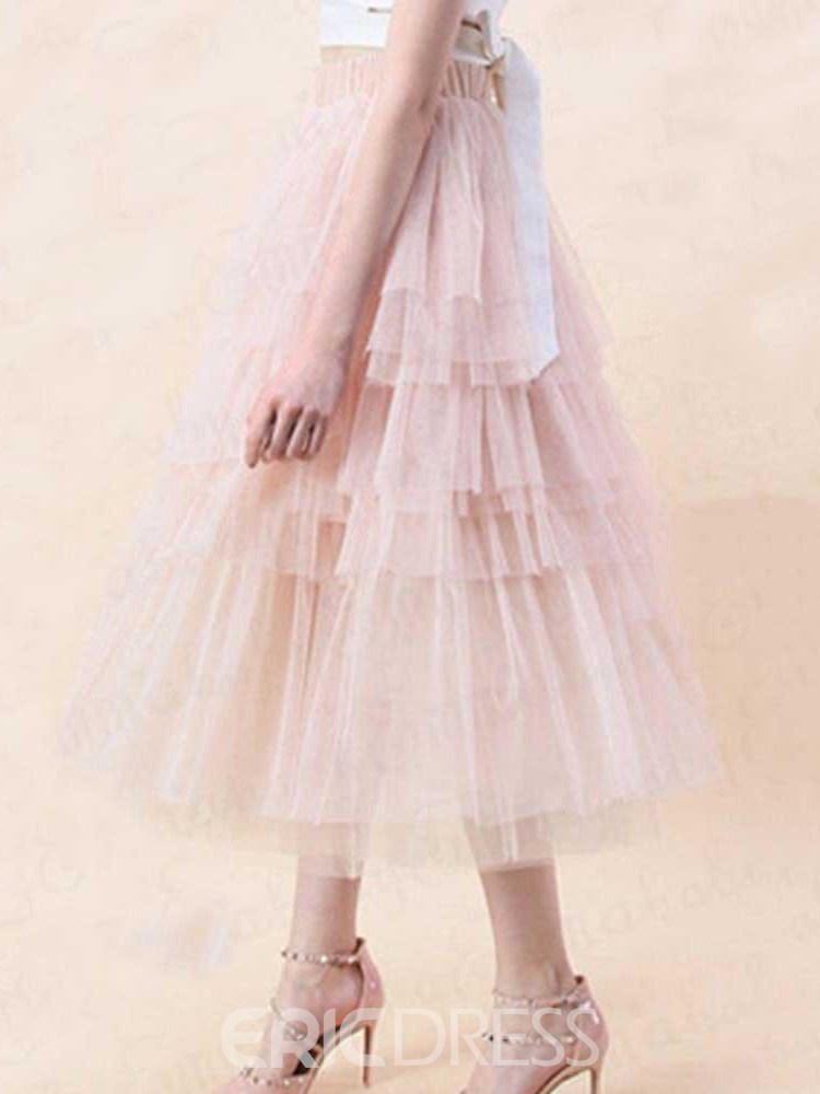 Ericdress Ankle-Length Mesh Cupcake Skirts Skirt