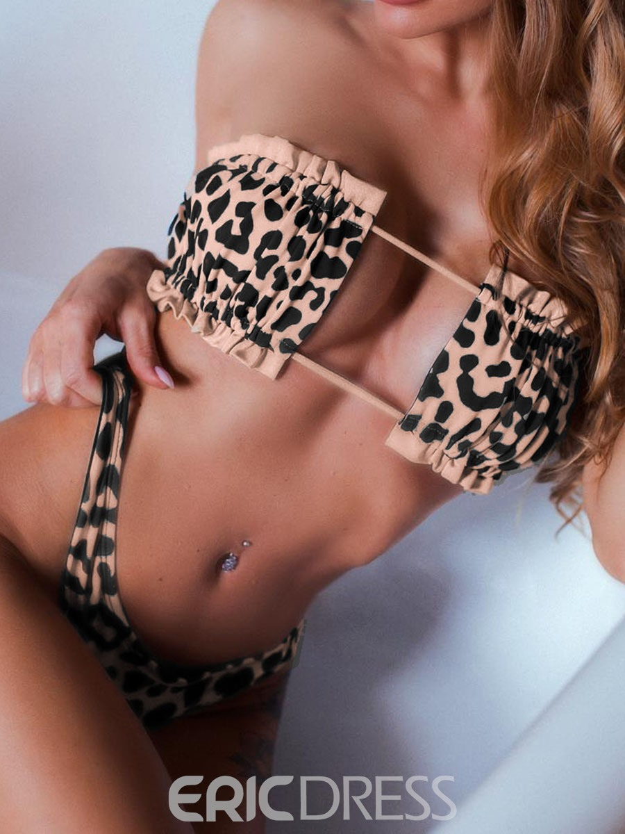 Ericdress Lace-Up Leopard Sexy Swimsuit