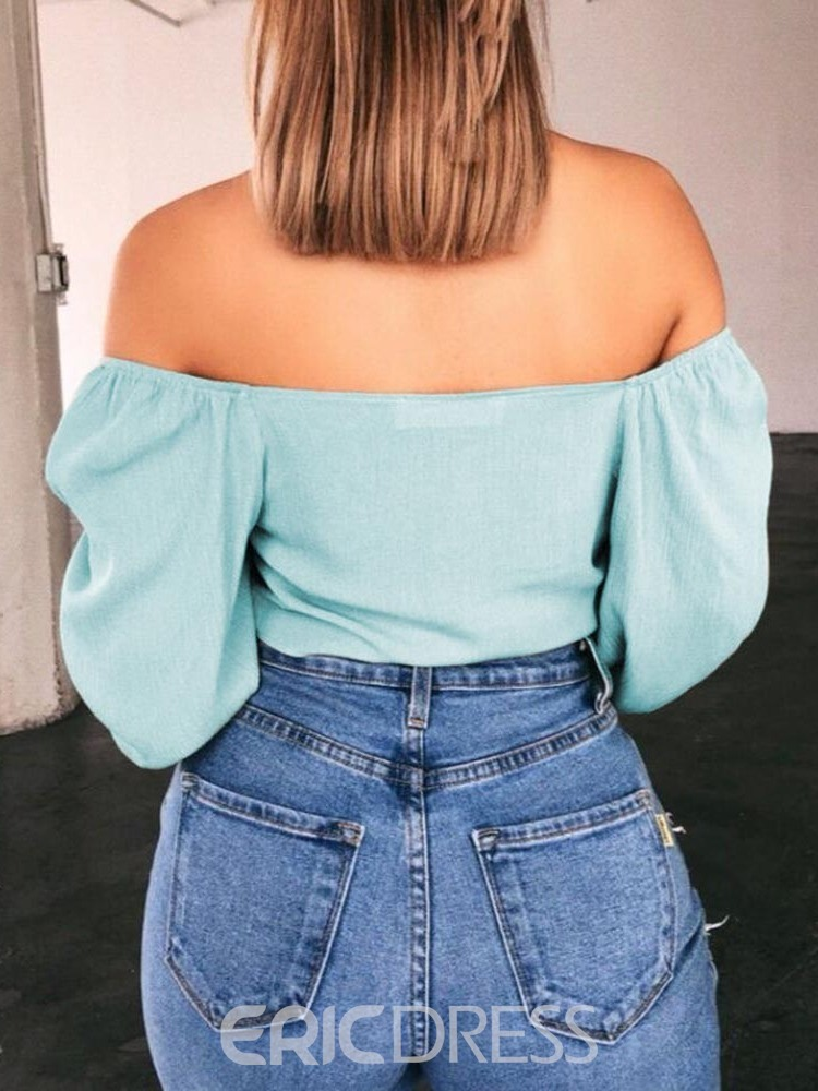 Ericdress Patchwork Off Shoulder Lace-Up Sexy Blouse