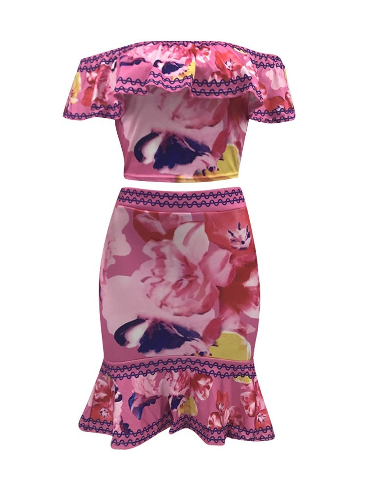 Ericdress Print Off Shoulder Bodycon Falbala T-Shirt And Skirt Two Piece Sets