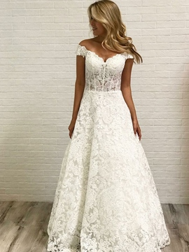 Ericdress Off-The-Shoulder Lace Church Wedding Dress 2019