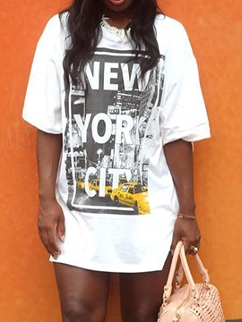 Ericdress Letter Round Neck Summer Casual T-Shirt