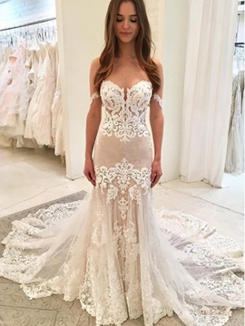 Ericdress Court Train Lace Appliques Wedding Dress 2019