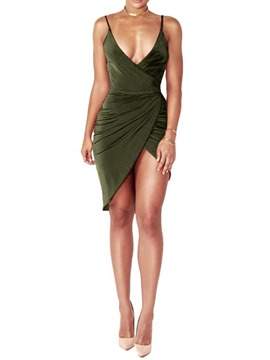 Ericdress Above Knee Sleeveless Sexy Asymmetrical Dress