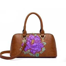 Ericdress PU Embossing Floral Rectangle Handbags