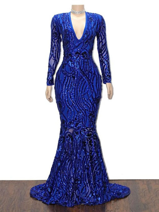 Ericdress V-Neck Sequins Sweep/Brush Trumpet/Mermaid Evening Dress 2020